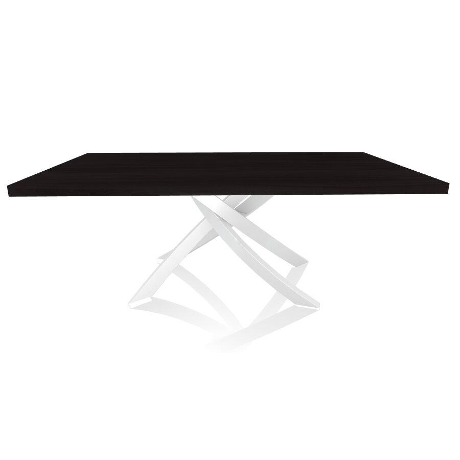 BONTEMPI CASA table avec structure blanche ARTISTICO 20.01 200x106 cm (Chêne Charbon - Plateau en bois plaqué et structure en acier laqué blanc)