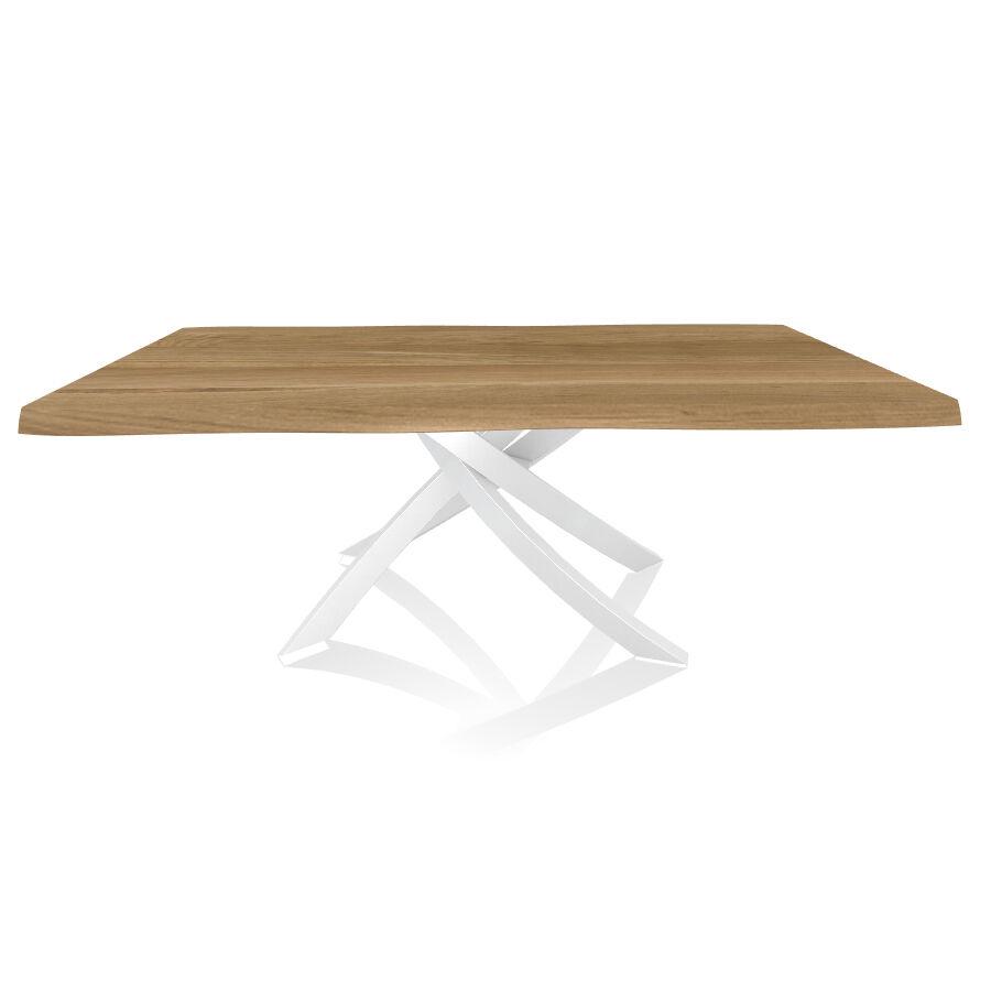 BONTEMPI CASA table avec structure blanche ARTISTICO 20.01 200x106 cm (Chêne naturel - Plateau en bois plaqué avec bords massif irrégulier et [...]
