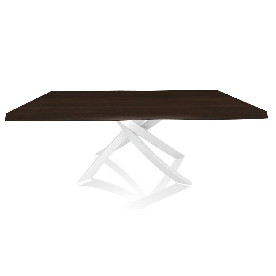 BONTEMPI CASA table avec structure blanche ARTISTICO 20.01 200x106 cm (Noyer - Plateau en bois plaqué avec bords massif irrégulier et structure [...]