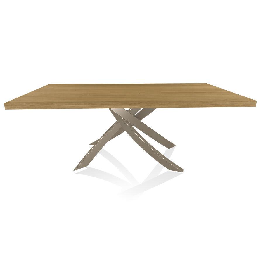 BONTEMPI CASA table avec structure sable ARTISTICO 20.01 200x106 cm (Chêne naturel - Plateau en bois plaqué et structure en acier laqué sable)