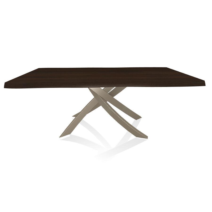 BONTEMPI CASA table avec structure sable ARTISTICO 20.01 200x106 cm (Noyer - Plateau en bois plaqué avec bords massif irrégulier et structure en [...]