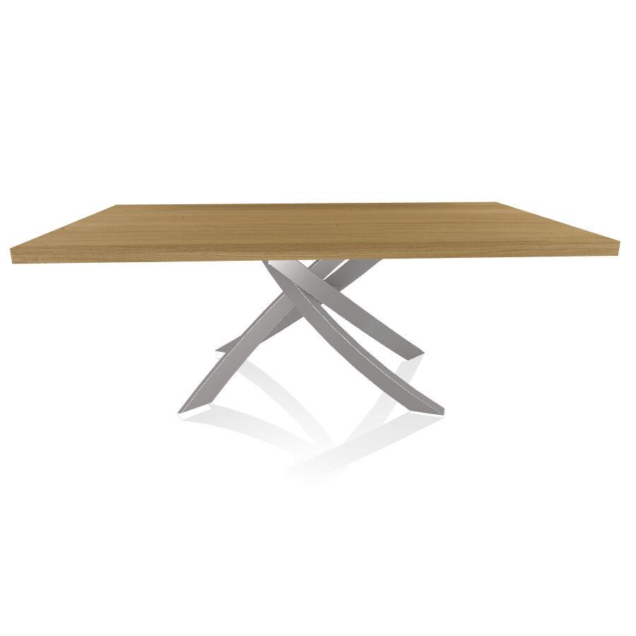 BONTEMPI CASA table avec structure gris clair ARTISTICO 20.01 200x106 cm (Chêne naturel - Plateau en bois plaqué et structure en acier laqué [...]