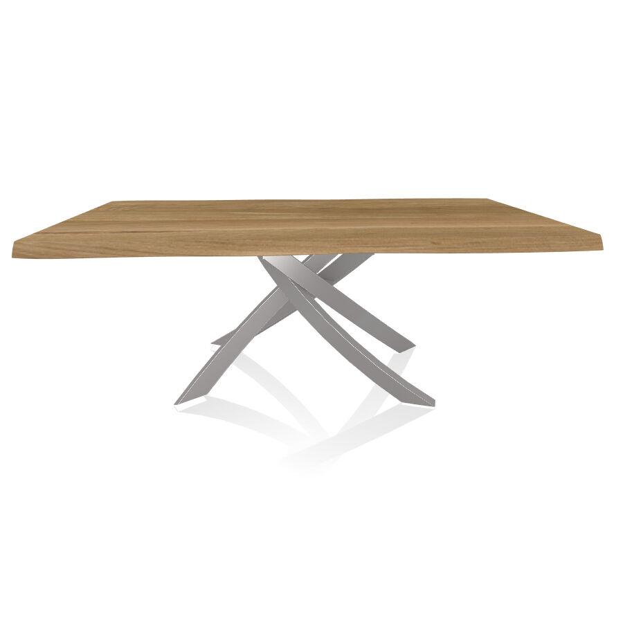 BONTEMPI CASA table avec structure gris clair ARTISTICO 20.01 200x106 cm (Chêne naturel - Plateau en bois plaqué avec bords massif irrégulier et [...]