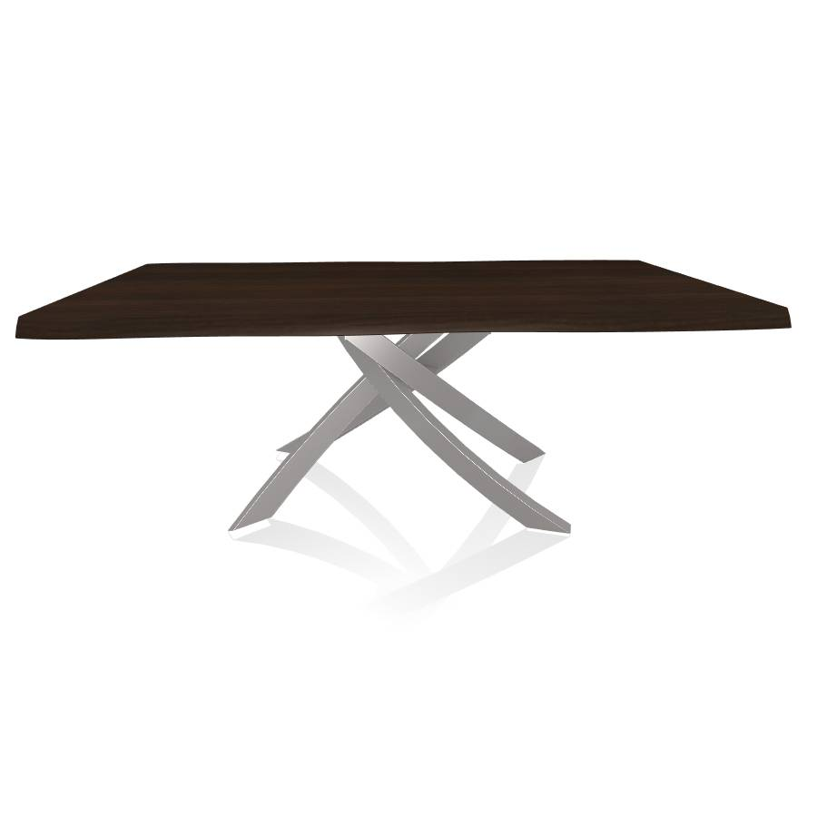 BONTEMPI CASA table avec structure gris clair ARTISTICO 20.01 200x106 cm (Noyer - Plateau en bois plaqué avec bords massif irrégulier et [...]