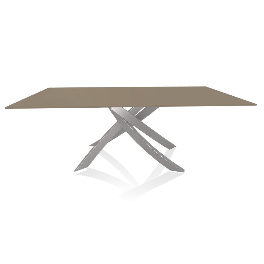 BONTEMPI CASA table avec structure gris clair ARTISTICO 20.01 200x106 cm (Anti-rayures tourterelle opaque - Plateau en verre et structure en [...]