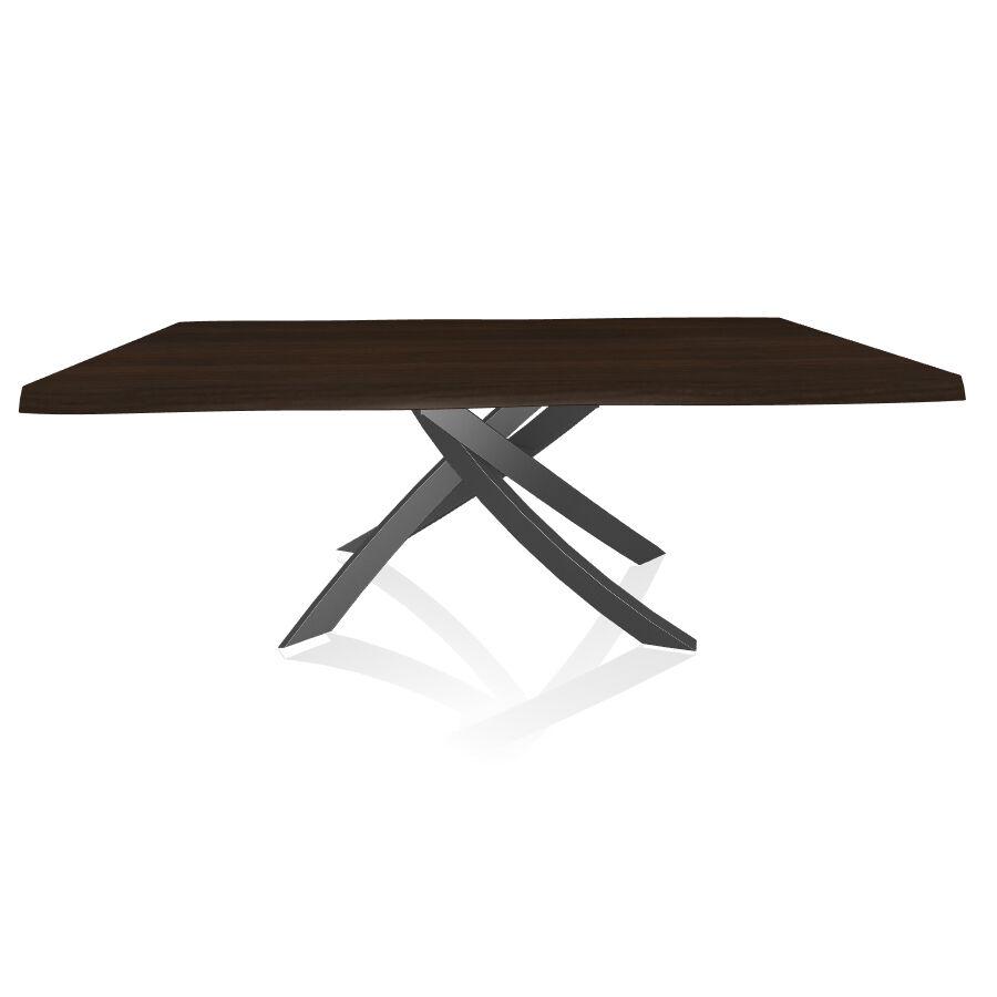 BONTEMPI CASA table avec structure anthracite ARTISTICO 20.01 200x106 cm (Noyer - Plateau en bois plaqué avec bords massif irrégulier et [...]