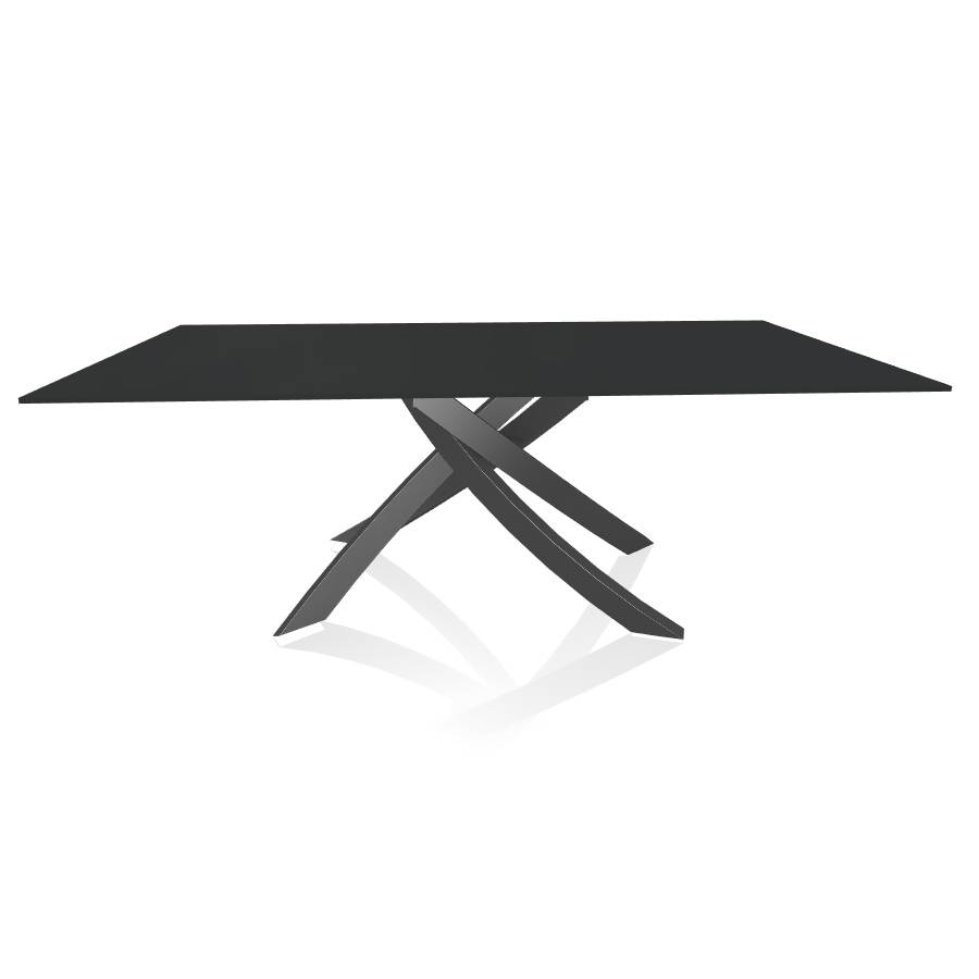BONTEMPI CASA table avec structure anthracite ARTISTICO 20.01 200x106 cm (Anti-rayures anthracite opaque - Plateau en verre et structure en [...]