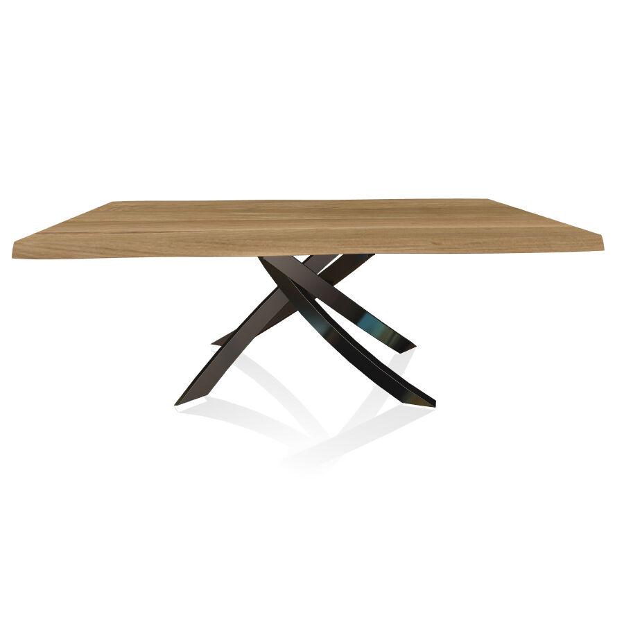 BONTEMPI CASA table avec structure noir poli ARTISTICO 20.01 200x106 cm (Chêne naturel - Plateau en bois plaqué avec bords massif irrégulier et [...]