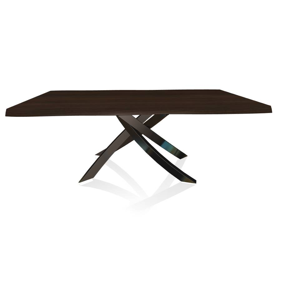 BONTEMPI CASA table avec structure noir poli ARTISTICO 20.01 200x106 cm (Noyer - Plateau en bois plaqué avec bords massif irrégulier et [...]