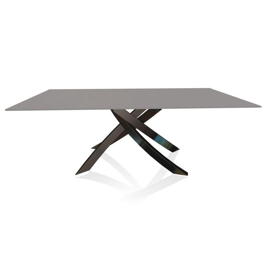 BONTEMPI CASA table avec structure noir poli ARTISTICO 20.01 200x106 cm (Anti-rayures gris clair opaque - Plateau en verre et structure en acier [...]