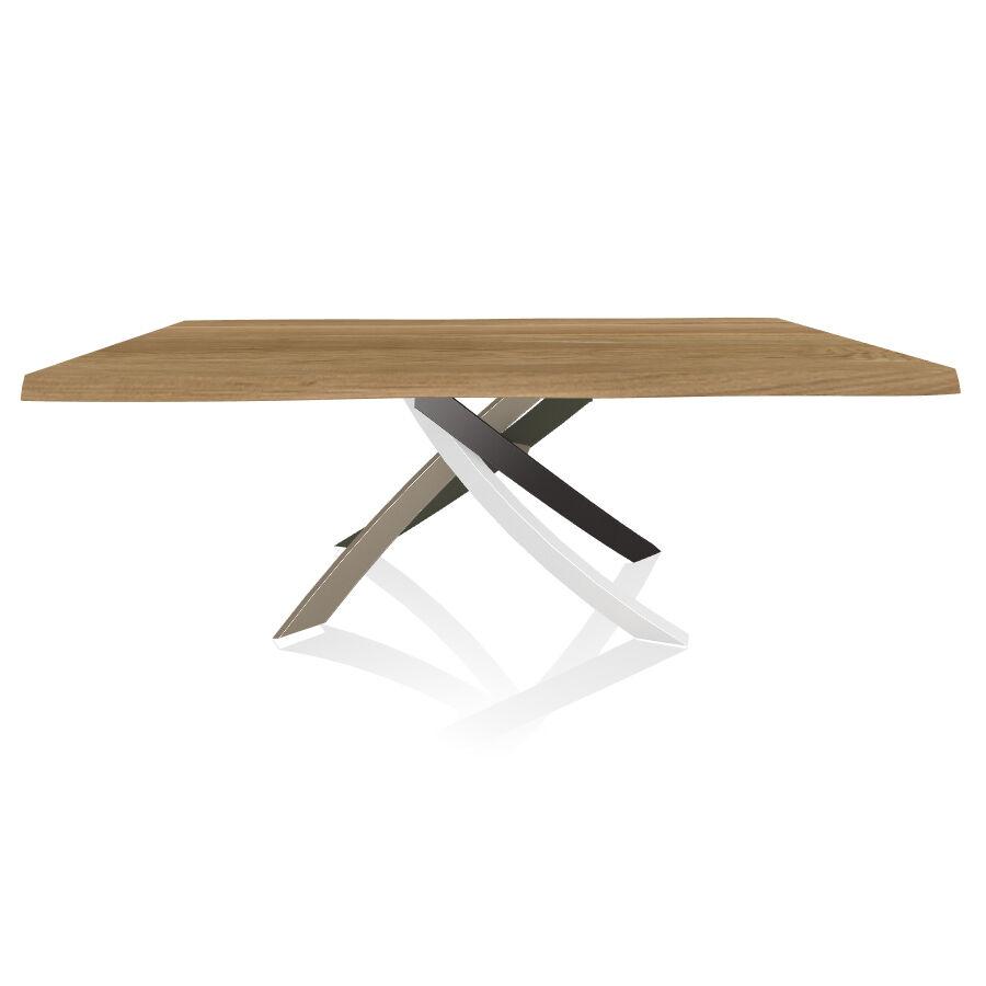 BONTEMPI CASA table avec structure multicolor elegant ARTISTICO 20.01 200x106 cm (Chêne naturel - Plateau en bois plaqué avec bords massif [...]