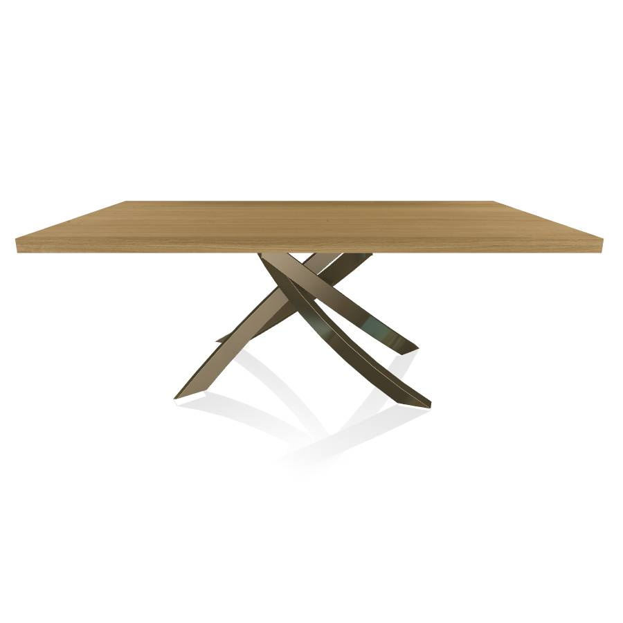 BONTEMPI CASA table avec structure laiton vielli ARTISTICO 20.01 200x106 cm (Chêne naturel - Plateau en bois plaqué et structure en acier laqué [...]