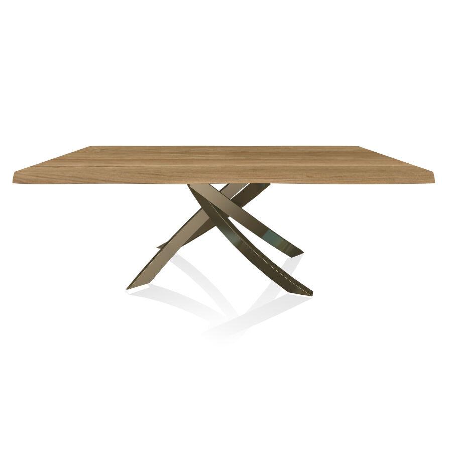 BONTEMPI CASA table avec structure laiton vielli ARTISTICO 20.01 200x106 cm (Chêne naturel - Plateau en bois plaqué avec bords massif irrégulier [...]