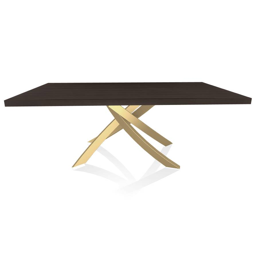 BONTEMPI CASA table avec structure or ARTISTICO 20.01 200x106 cm (Chêne Spessart - Plateau en bois plaqué et structure en acier laqué or)