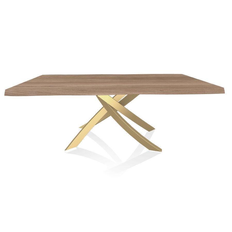 BONTEMPI CASA table avec structure or ARTISTICO 20.01 200x106 cm (Chêne naturel - Plateau en bois plaqué avec bords massif irrégulier et [...]