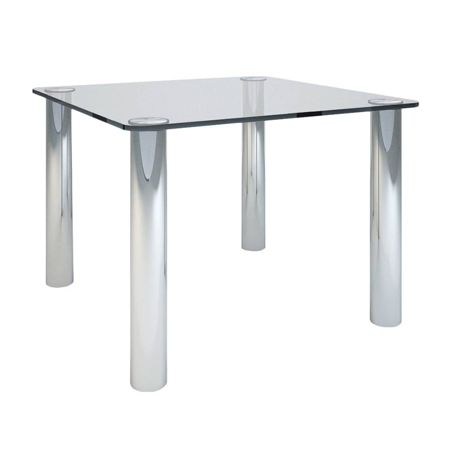 ZANOTTA table MARCUSO 100x100 cm (Transparent - cristal et acier inox)