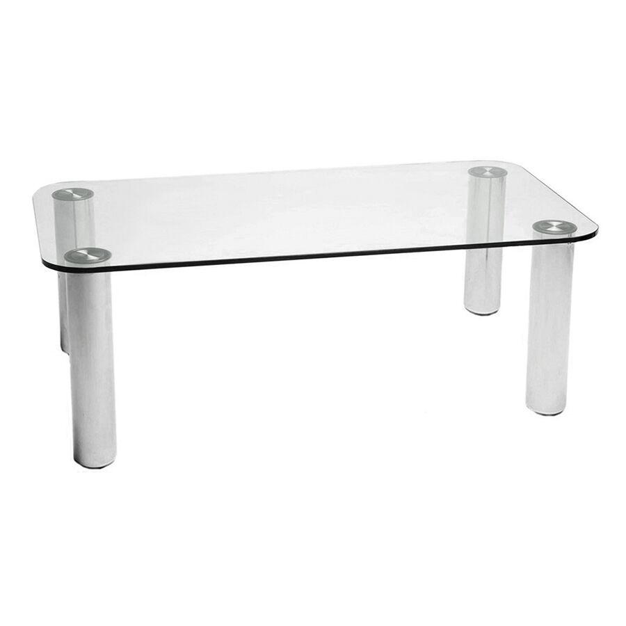 ZANOTTA table MARCUSO 90x200 cm (Transparent - cristal et acier inox)
