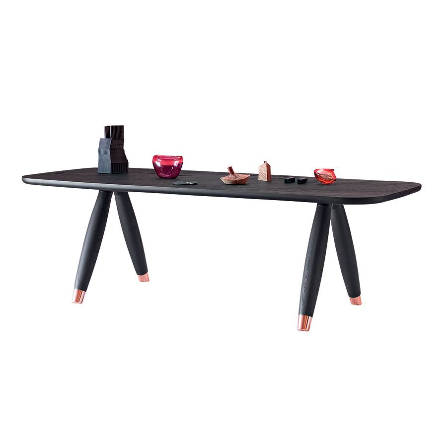 MINIFORMS table rectangulaire BASILIO (240x100 cm - Frassino nero e rame)