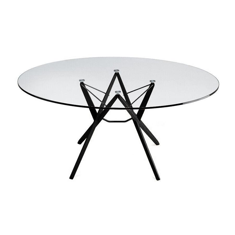 ZANOTTA table ORIONE (Ø 135 cm - Verre et chêne noir)