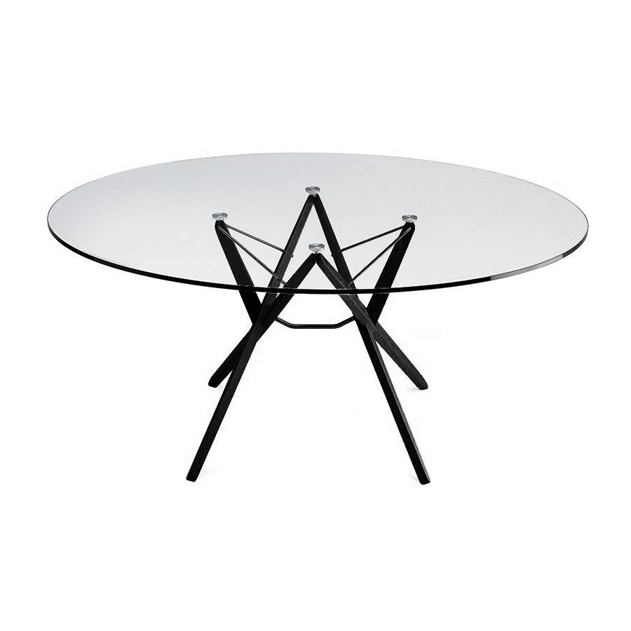 ZANOTTA table ORIONE (125x175 cm - Verre et chêne noir)