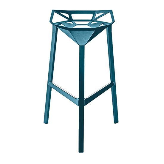MAGIS set de 2 tabourets pour extérieur STOOL ONE Stool_One H 84 cm (Bleu - Pieds et assise en profil d'aluminium verni polyester)