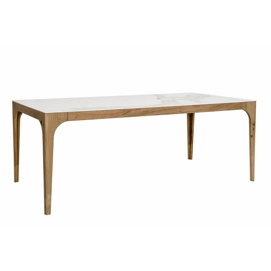 COLICO table extensible CARGO 160(210-260)x90 cm (Calacatta or mat - Chêne avec nœuds naturel et Grès effet Marbre)