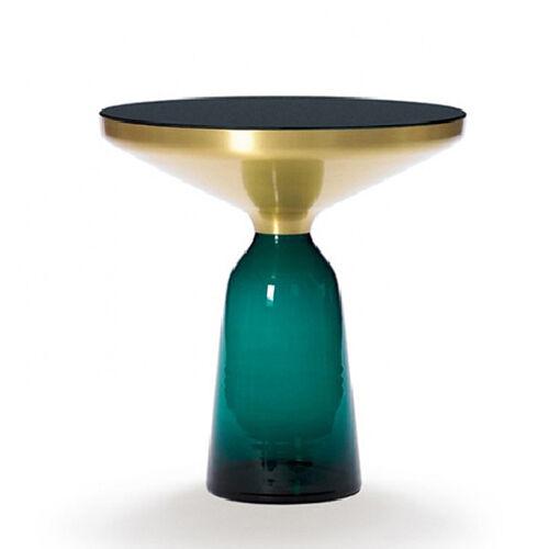 CLASSICON table BELL SIDE TABLE (Vert émeraude - Structure en laiton, plateau en Cristal noir et base en verre soufflé)