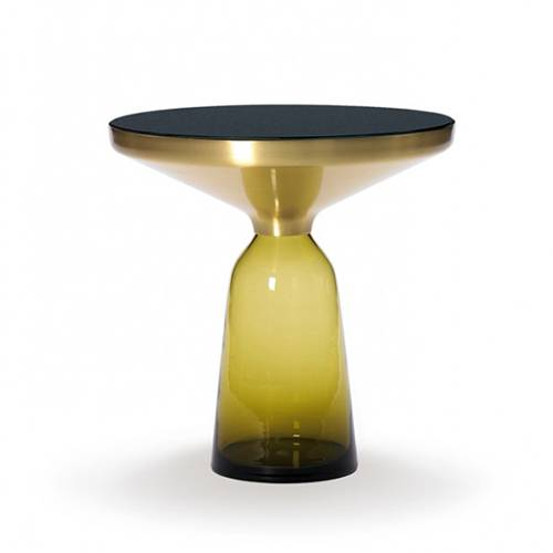 CLASSICON table BELL SIDE TABLE (jaune topaze - Structure en laiton, plateau en Cristal noir et base en verre soufflé)