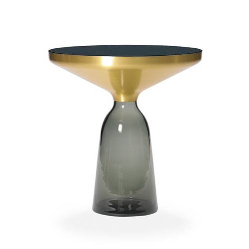 CLASSICON table BELL SIDE TABLE (gris quartz - Structure en laiton, plateau en Cristal noir et base en verre soufflé)