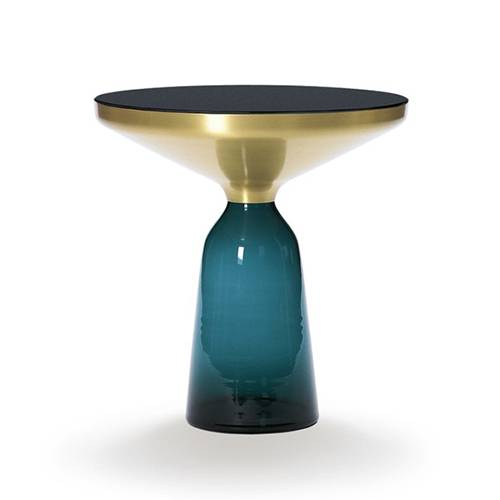 CLASSICON table BELL SIDE TABLE (bleu Montana - Structure en laiton, plateau en Cristal noir et base en verre soufflé)