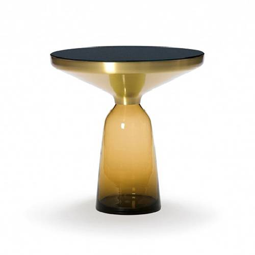 CLASSICON table BELL SIDE TABLE (Ambre - Structure en laiton, plateau en Cristal noir et base en verre soufflé)