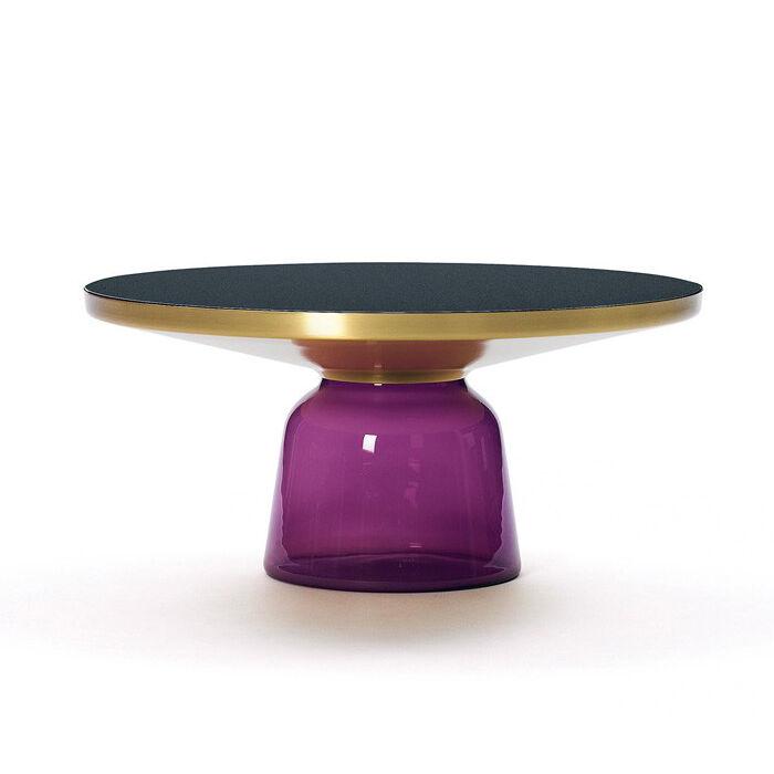 CLASSICON table BELL COFFEE TABLE (Violet améthyste - Structure en laiton, plateau en Cristal noir et base en verre soufflé)