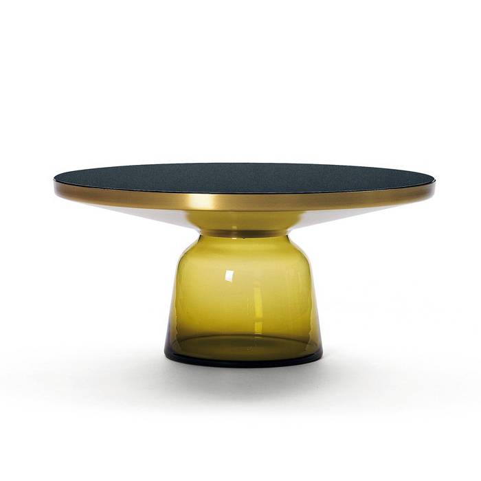 CLASSICON table BELL COFFEE TABLE (jaune topaze - Structure en laiton, plateau en Cristal noir et base en verre soufflé)