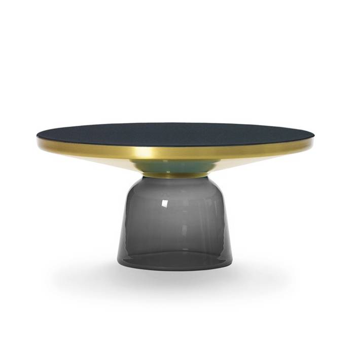 CLASSICON table BELL COFFEE TABLE (gris quartz - Structure en laiton, plateau en Cristal noir et base en verre soufflé)