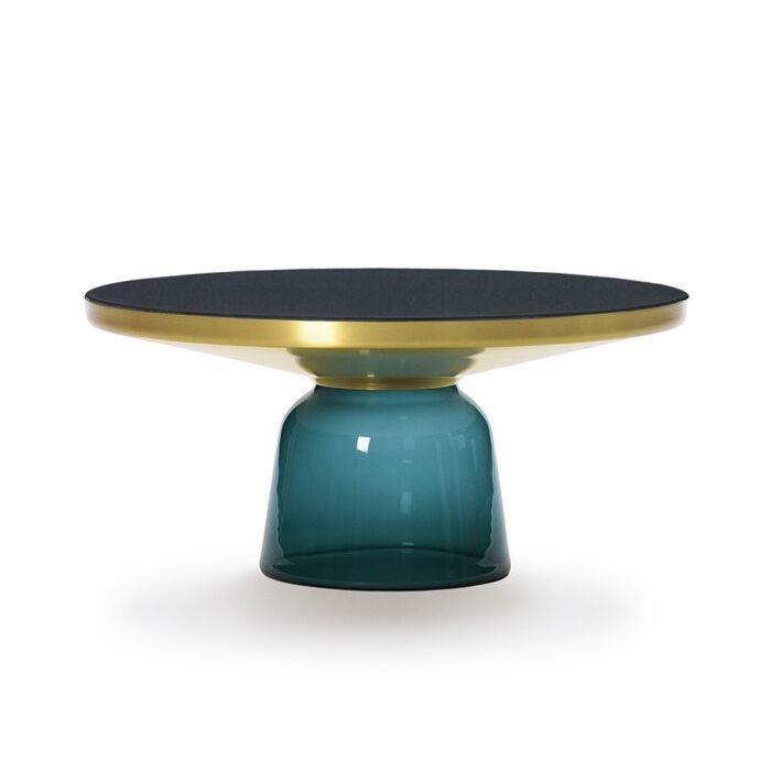 CLASSICON table BELL COFFEE TABLE (bleu Montana - Structure en laiton, plateau en Cristal noir et base en verre soufflé)