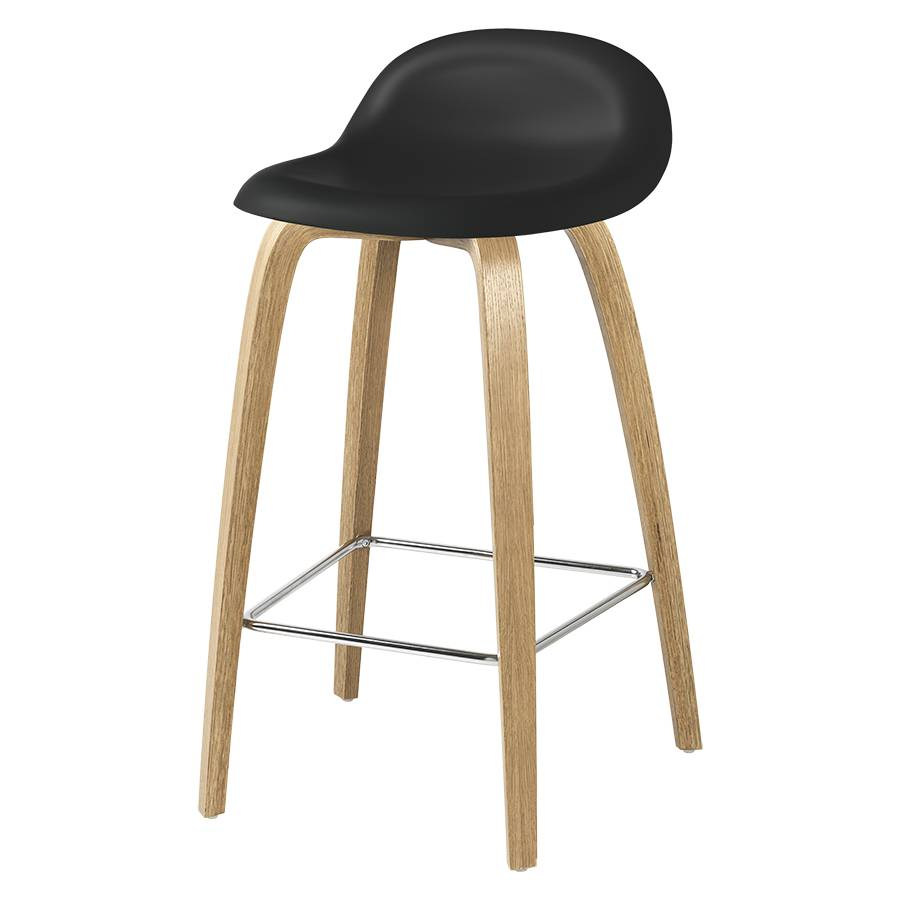 GUBI tabouret 3D COUNTER STOOL base en bois (Black - HiREK® et chêne)