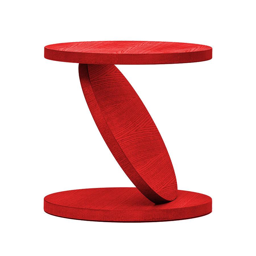 BALERI ITALIA table basse MATCH POINT (60° chêne verni rouge - bois multi-couches palqué)