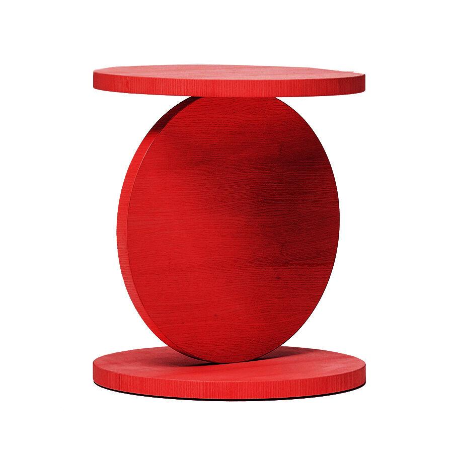 BALERI ITALIA table basse MATCH POINT (90° chêne verni rouge - bois multi-couches palqué)