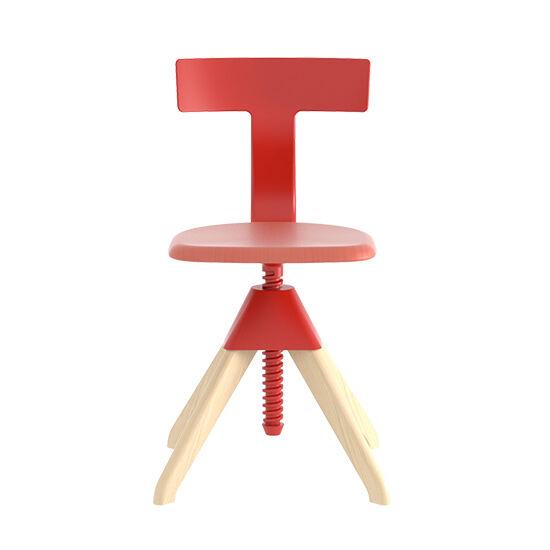 MAGIS chaise pivotant réglable en hauteur TUFFY The Wild Bunch (Naturel/ Rouge - Bois massif de hêtre et polypropylène chargé de fibre de verre)
