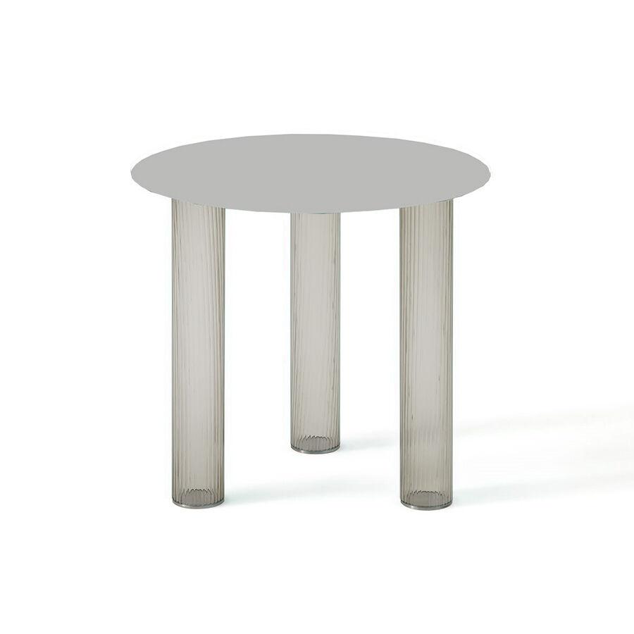 ZANOTTA table basse ronde ECHINO Ø 48 x H 44 cm (Fumé - Verre soufflé et plan nickel satiné)