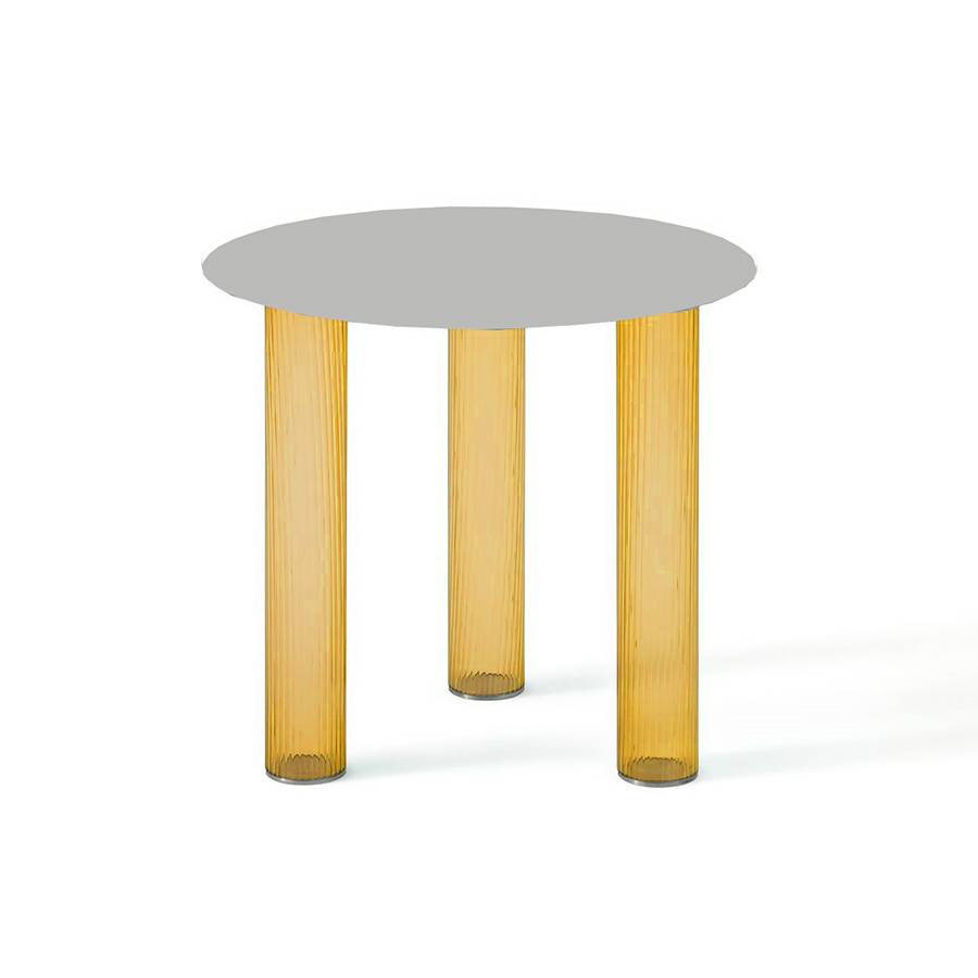 ZANOTTA table basse ronde ECHINO Ø 48 x H 44 cm (Ambre - Verre soufflé et plan nickel satiné)