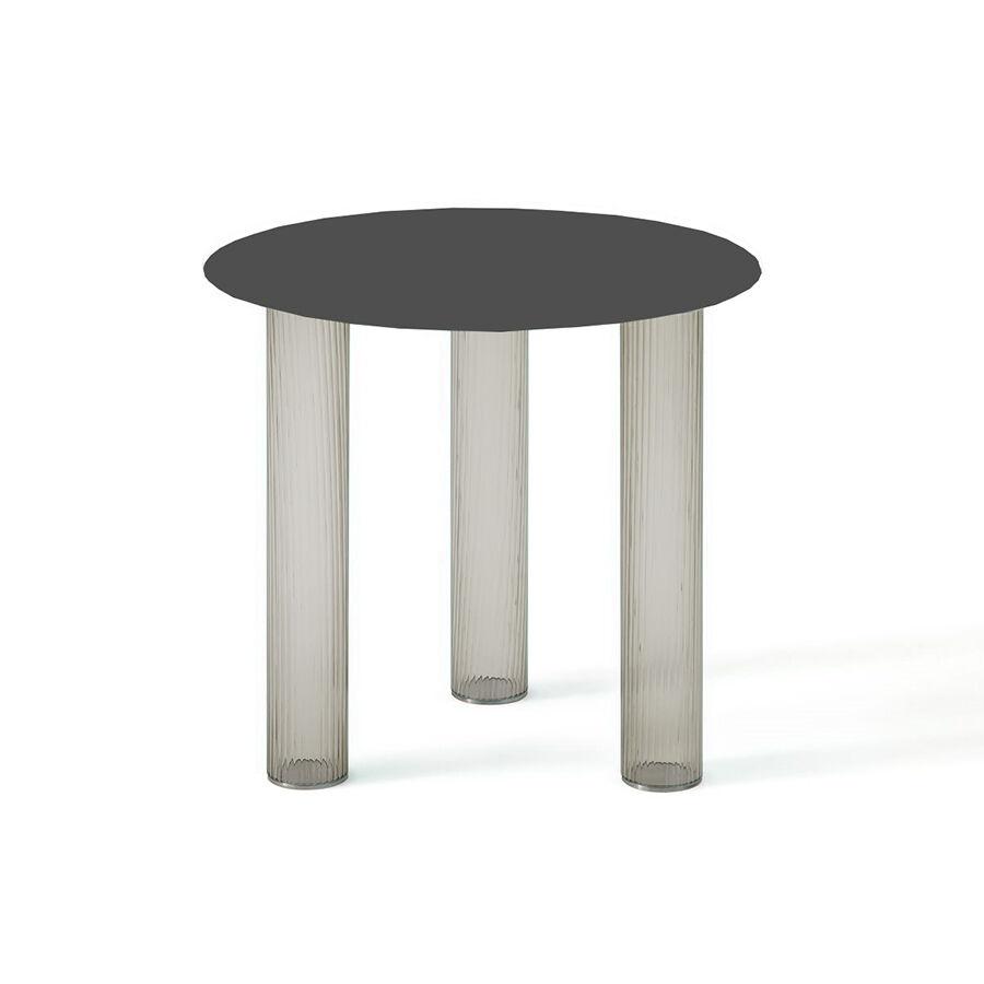 ZANOTTA table basse ronde ECHINO Ø 48 x H 44 cm (Fumé - Verre soufflé et plan noir)