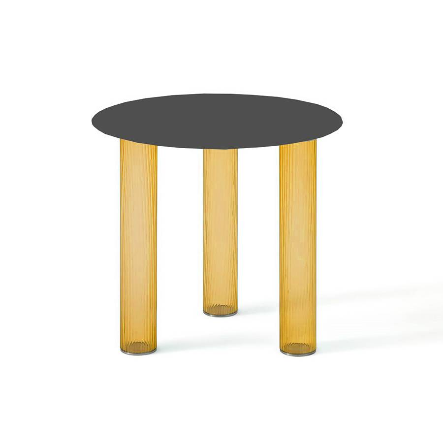 ZANOTTA table basse ronde ECHINO Ø 48 x H 44 cm (Ambre - Verre soufflé et plan noir)