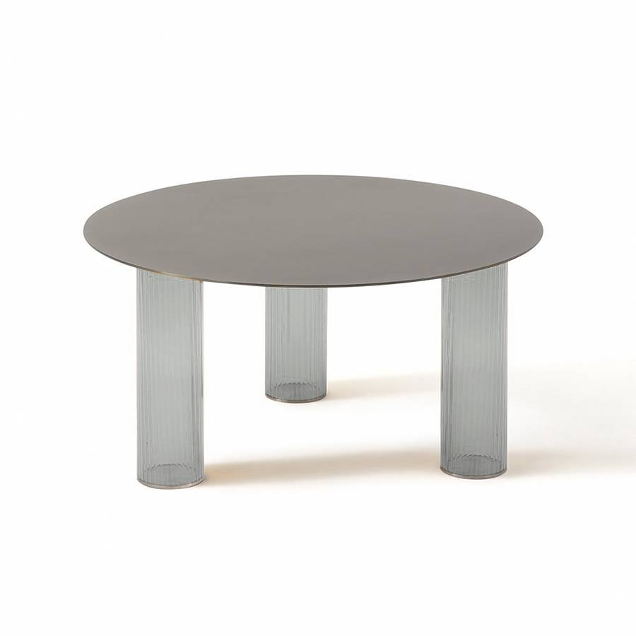 ZANOTTA table basse ronde ECHINO Ø 68 x H 34 cm (Fumé - Verre soufflé et plan nickel satiné)