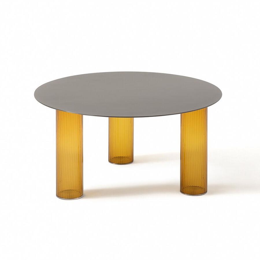 ZANOTTA table basse ronde ECHINO Ø 68 x H 34 cm (Ambre - Verre soufflé et plan nickel satiné)