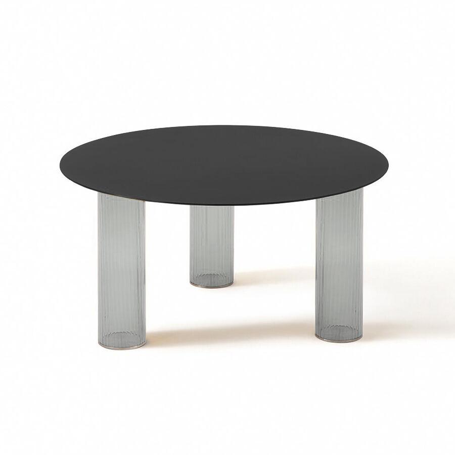 ZANOTTA table basse ronde ECHINO Ø 68 x H 34 cm (Fumé - Verre soufflé et plan noir)