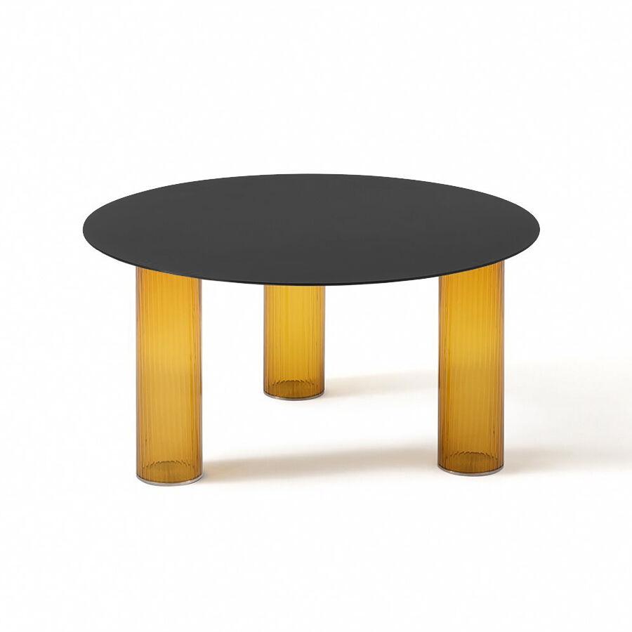 ZANOTTA table basse ronde ECHINO Ø 68 x H 34 cm (Ambre - Verre soufflé et plan noir)