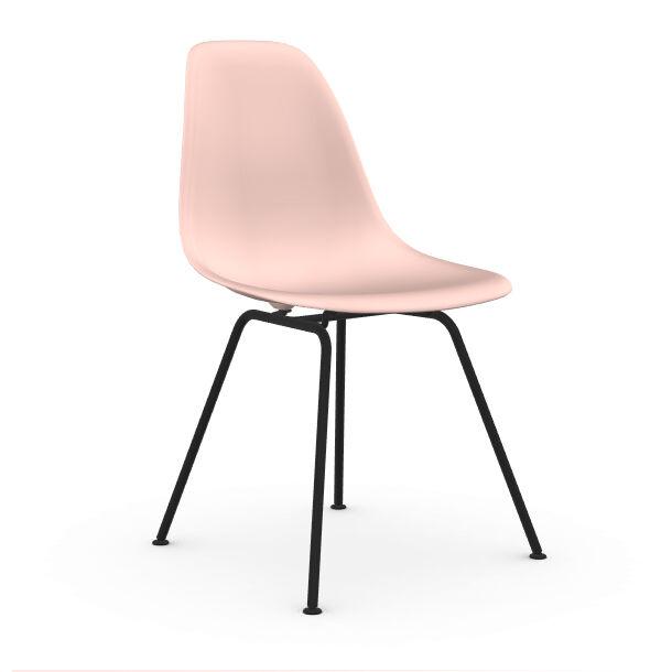 VITRA chaise avec piètement noir Eames Plastic Side Chair DSX NOUVELLES DIMENSIONS (Rose clair - Acier verni / Polypropylène)