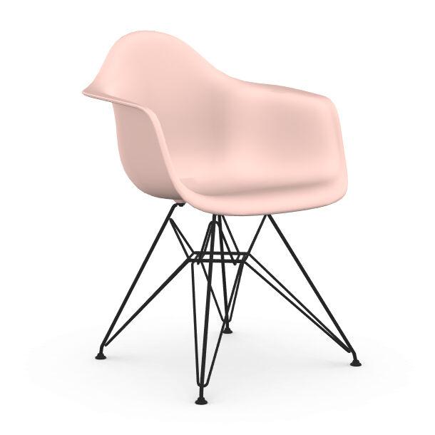 VITRA chaise fauteuil avec piètement noir Eames Plastic Armchair DAR NOUVELLES DIMENSIONS (Rose clair - Acier verni / Polypropylène)