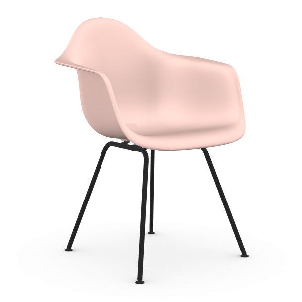 VITRA chaise fauteuil avec piètement noir Eames Plastic Armchair DAX NOUVELLES DIMENSIONS (Rose clair - Acier verni / Polypropylène)